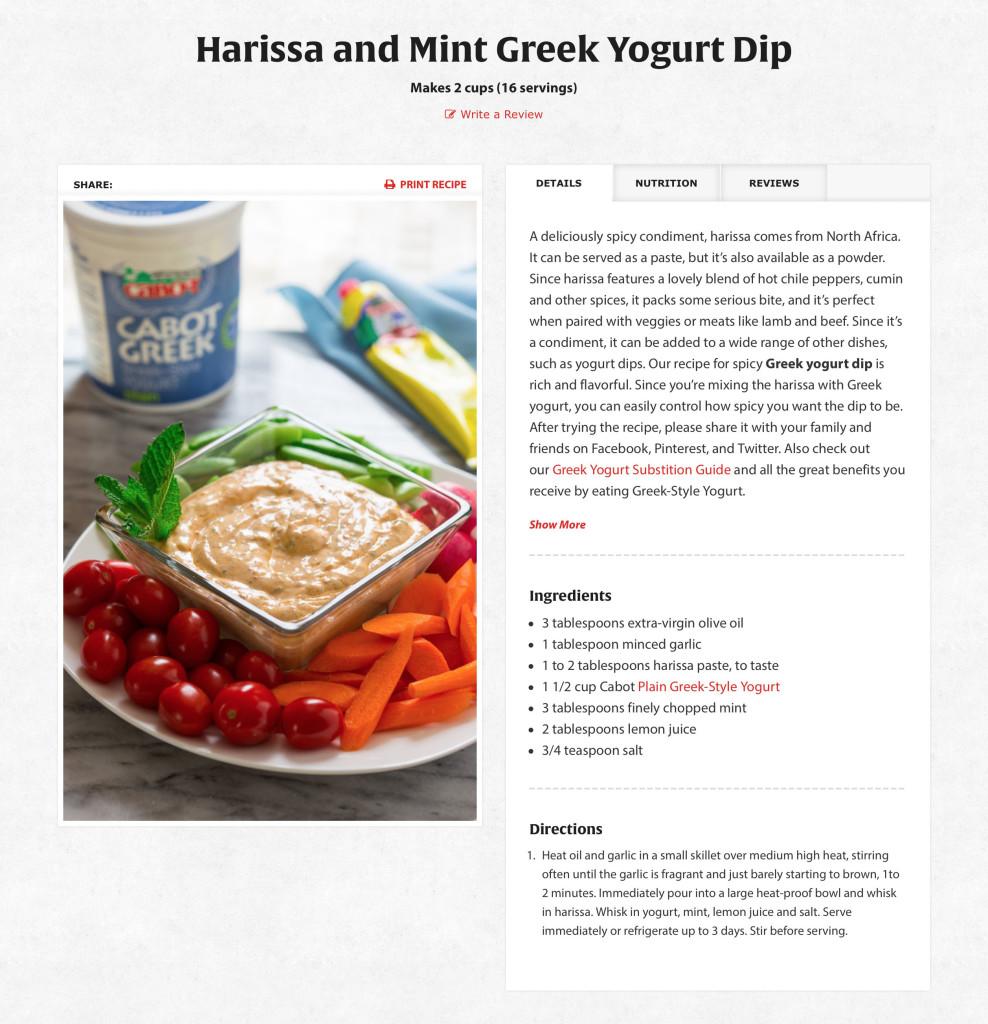 Harissa Greek Yogurt Dip   Cabot Creamery   Cabot Creamery
